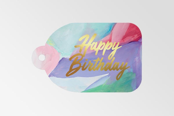 Happy Birthday Gold Foil - PurpleGreen