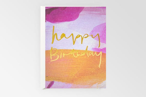 Happy Birthday Gold Foil - Pink Orange