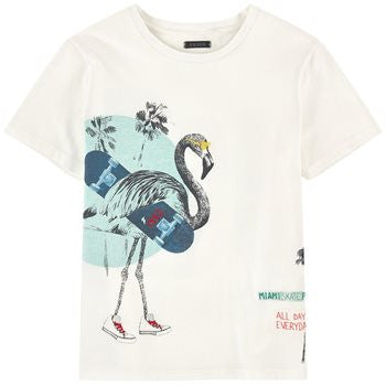 Flamingo Skater White T-Shirt