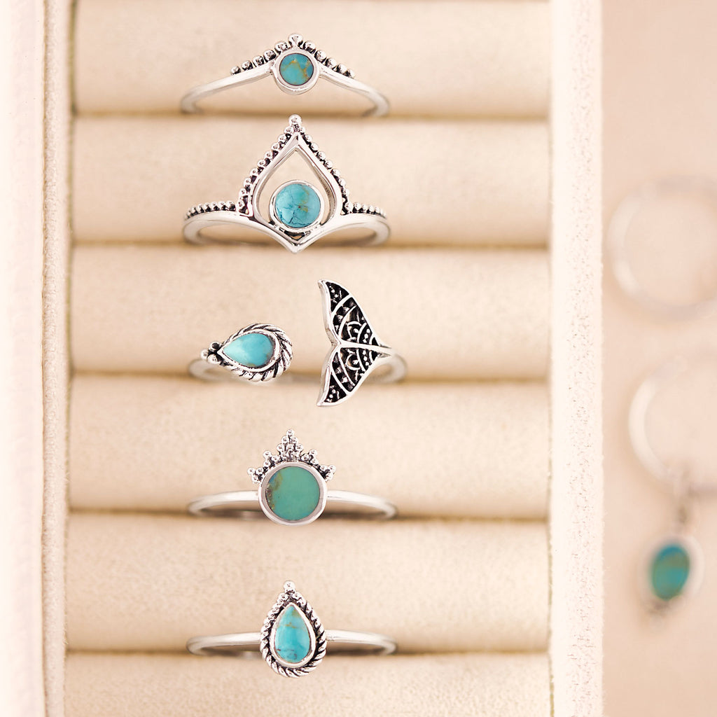 Midsummer Star Sterling Silver Turquoise Jewellery Rings