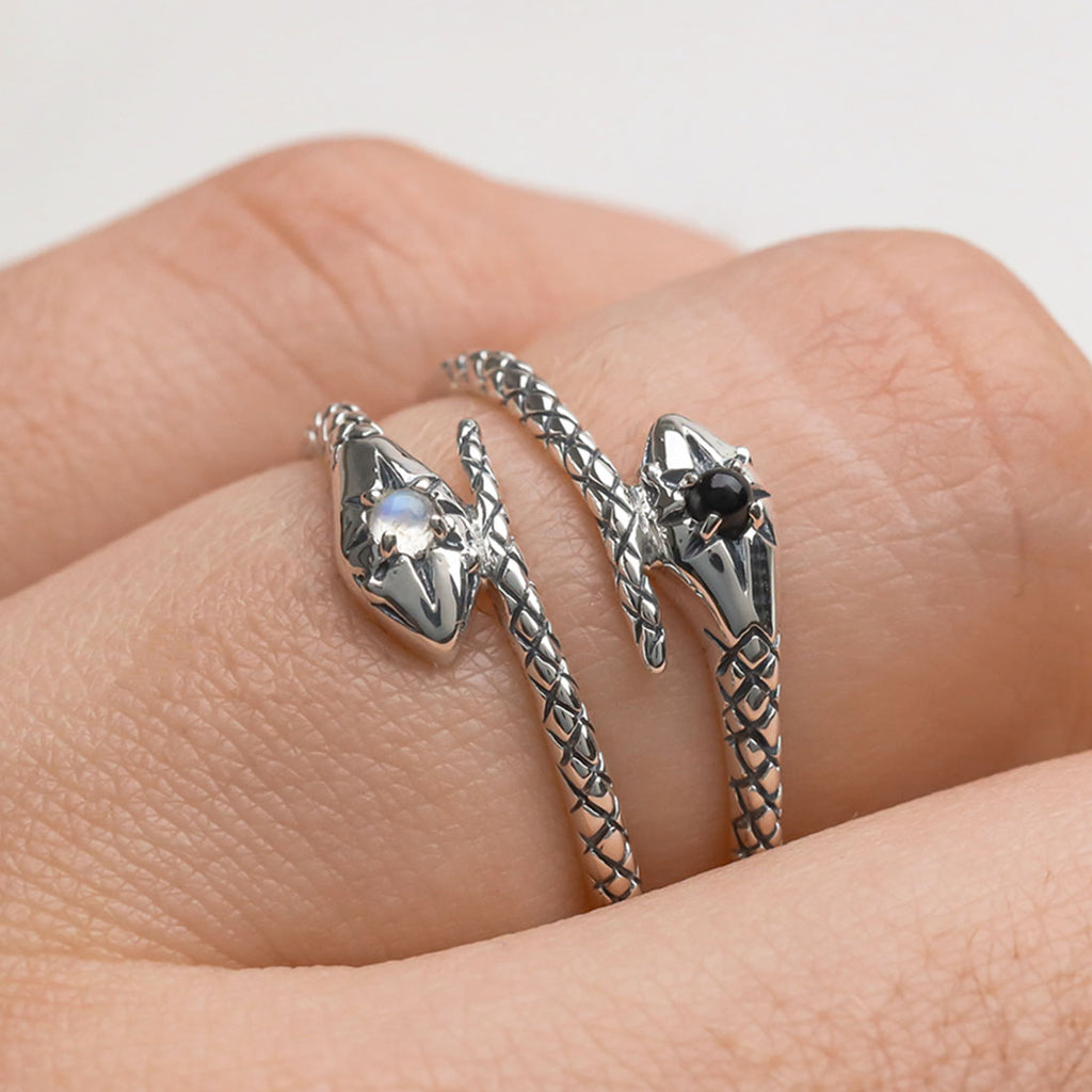 Silver and gold, snake, serpent rings local Australian jewellery