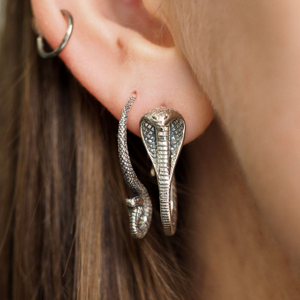 Silver and gold, snake, serpent earrings local Australian jewellery blog