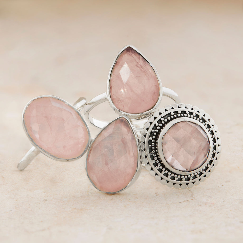 Midsummer Star Rose Quartz Sterling Silver Rings