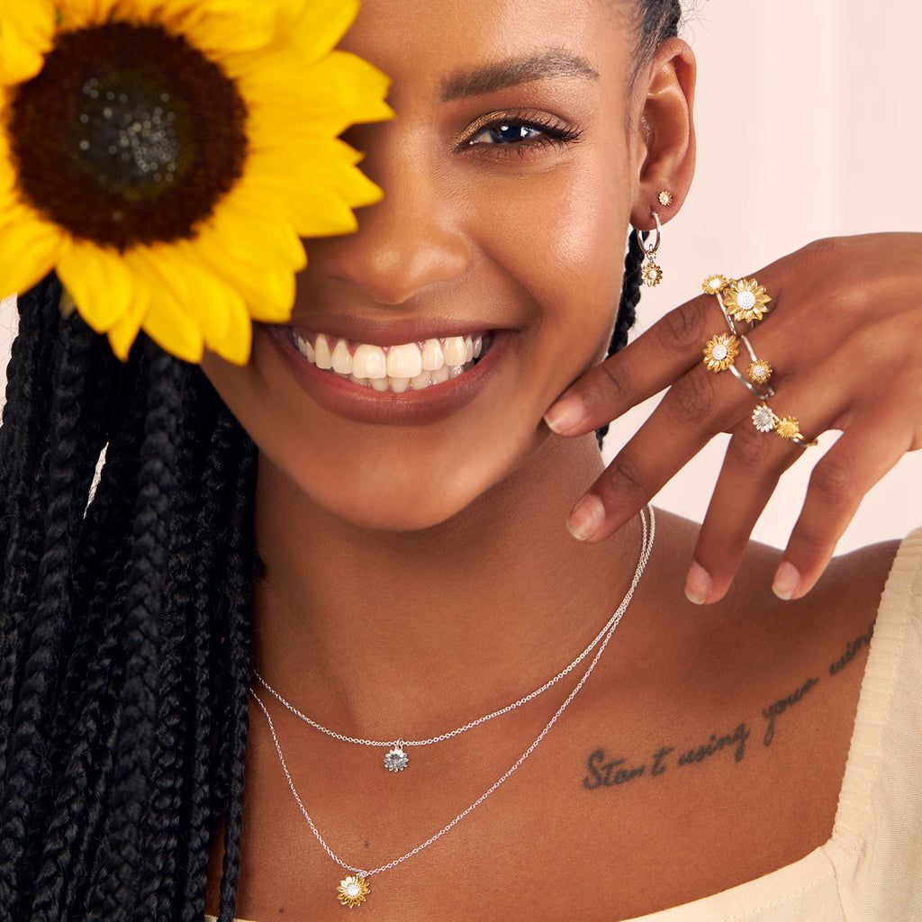 Midsummer Star Sterling Silver and Gold Vermeil Sunflower Rings, Studs, Earrings, Necklaces and Bracelets Campaign Images