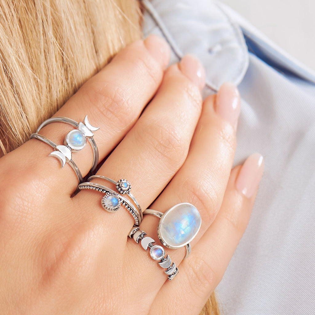 Midsummer Star Sterling Silver Ring Stacking Styling Rainbow Moonstone