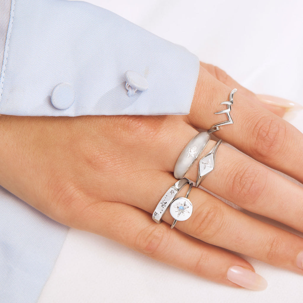 Midsummer Star Sterling Silver Rings Stacking Styling Silver Minimal