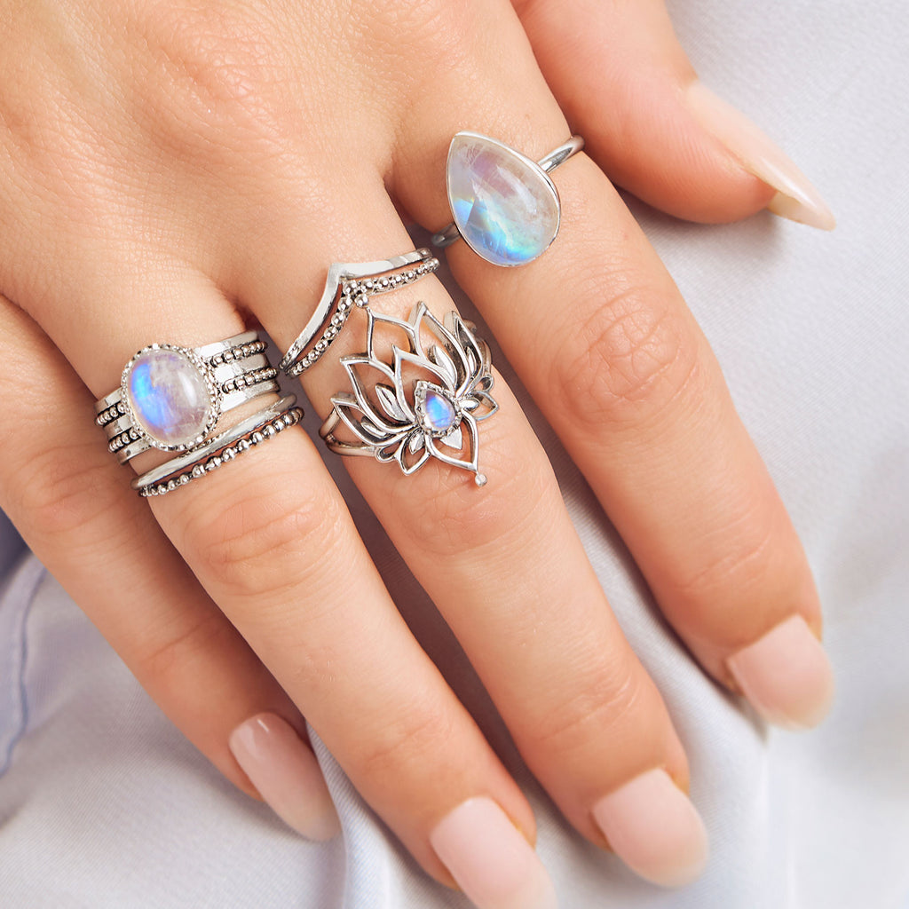Midsummer Star Sterling Silver Rainbow Moonstone Rings Stacking Styling