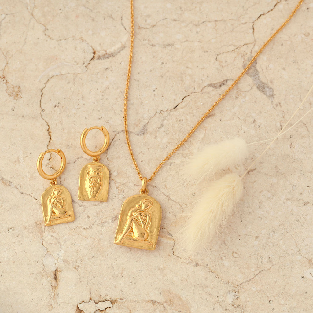 Gold vermeil vessel earring and necklace