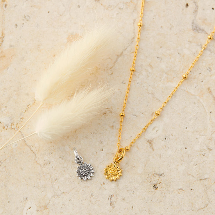 Gold Delicate Sunflower Neck Charm