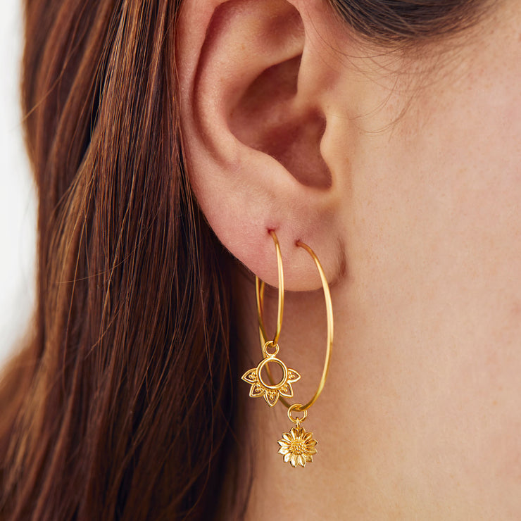 Gold Dainty Sunflower Ear Charms
