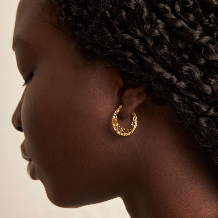 Gold Mandala Disc Hoops