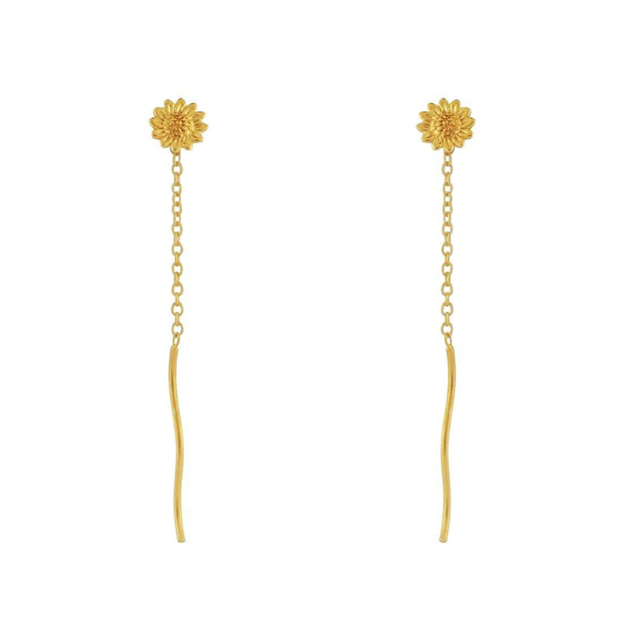 Gold Delicate Sunflower Pull-Through Earrings