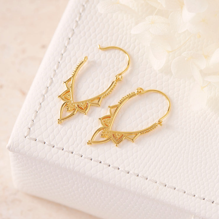 Gold Love Lace Hoops