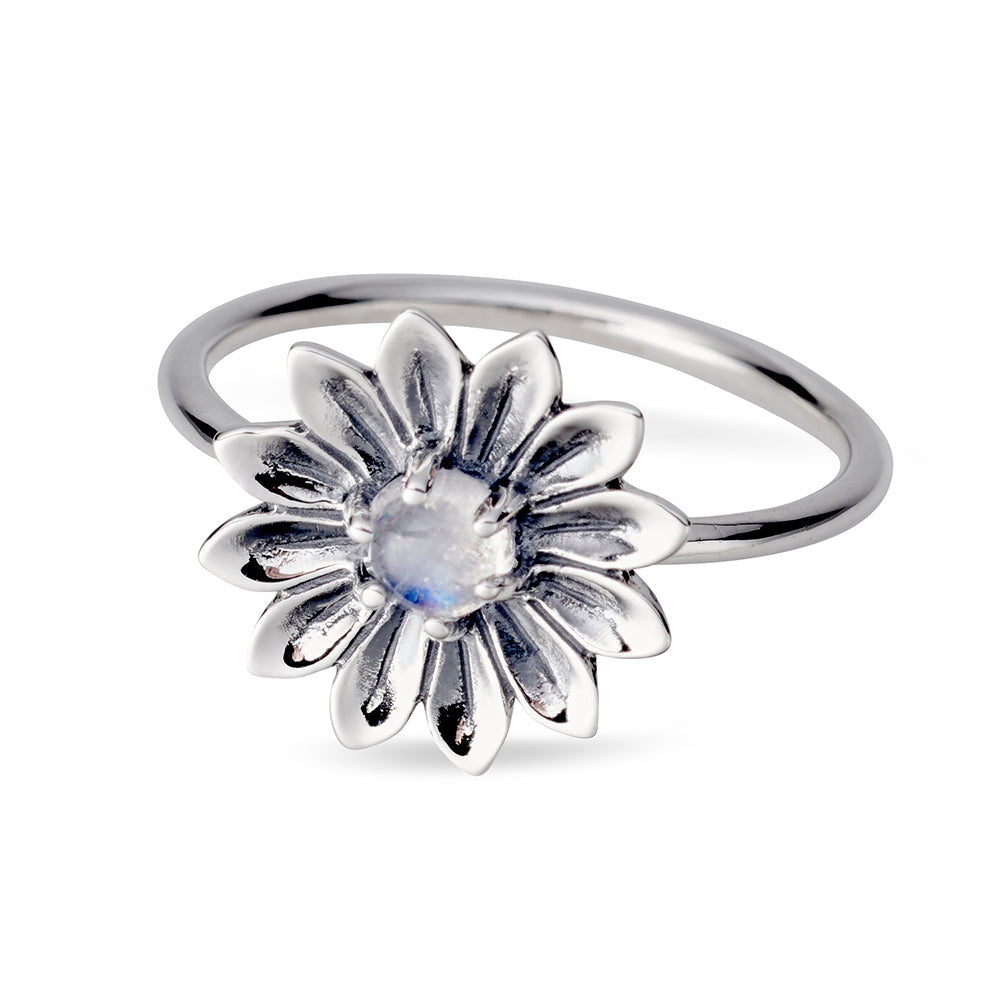 Sunflower Moonstone Ring