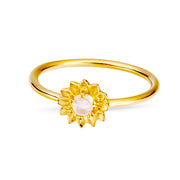 Gold Delicate Sunflower Moonstone Ring