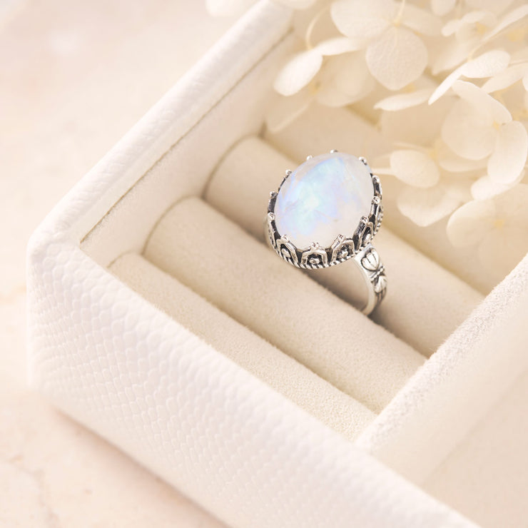 The Goddess Selene Moonstone Ring