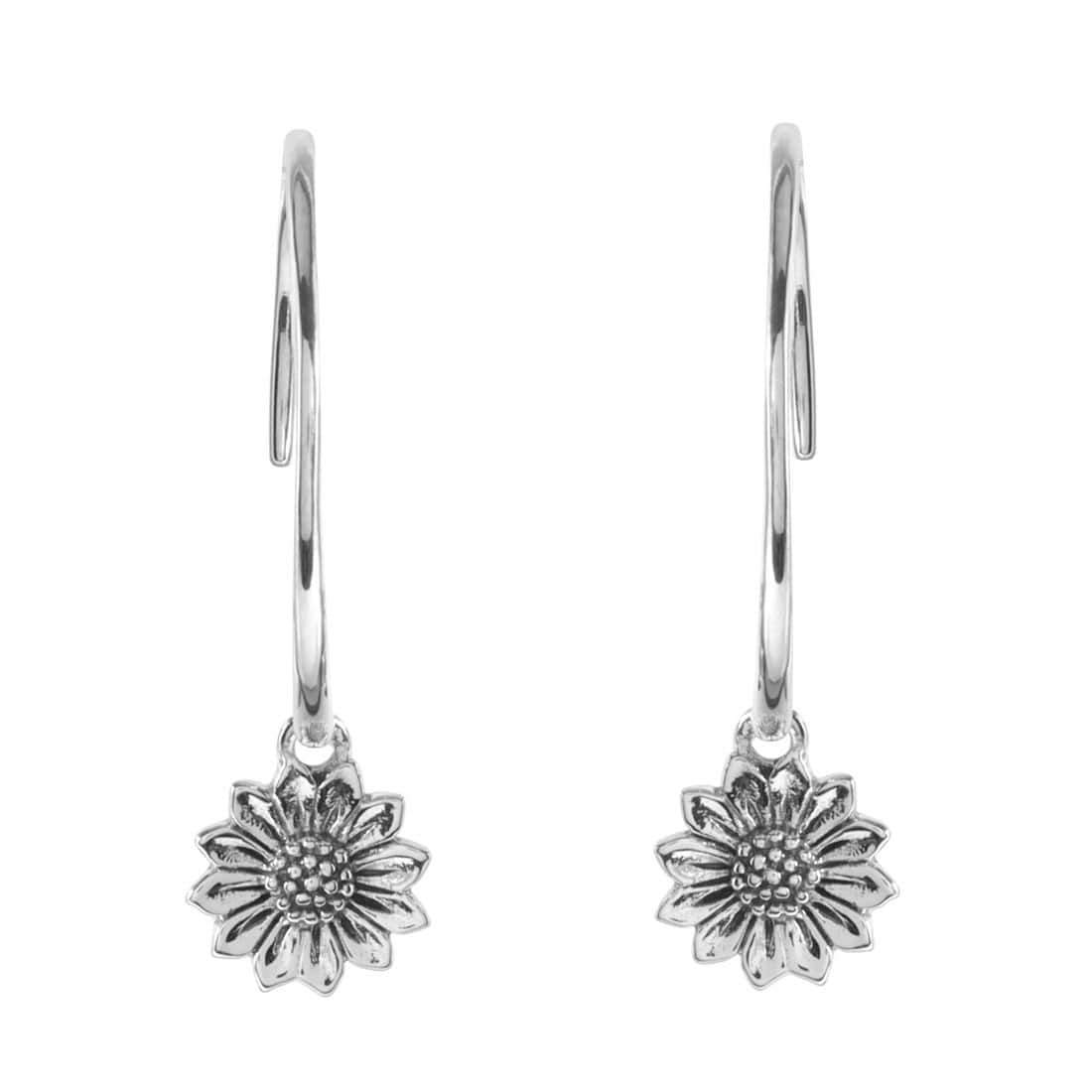 Midsummer Star Earrings Delicate Sunflower Hoops