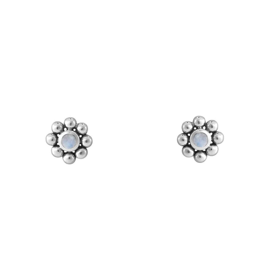 Enchanted Moonstone Flower Studs