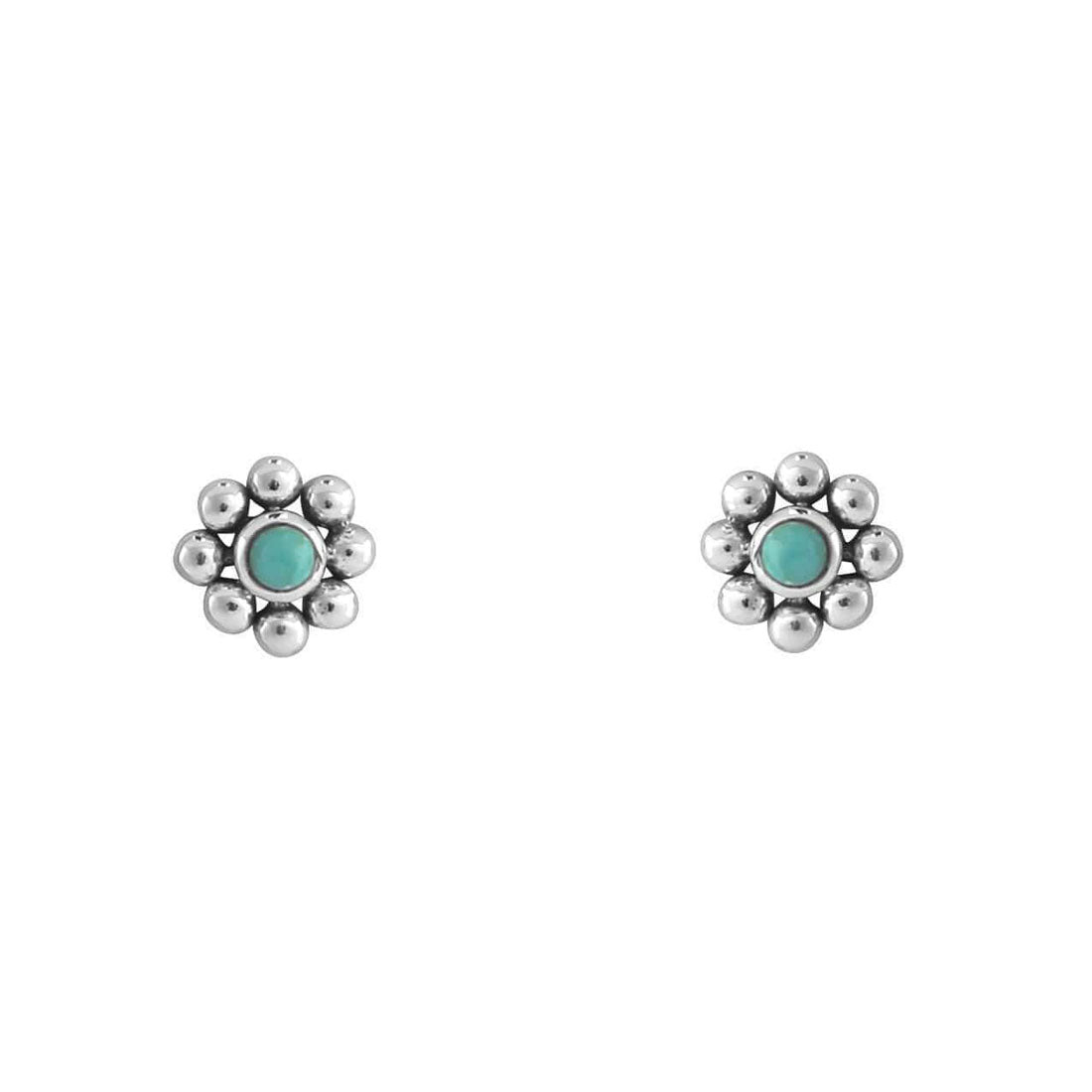 Enchanted Turquoise Flower Studs