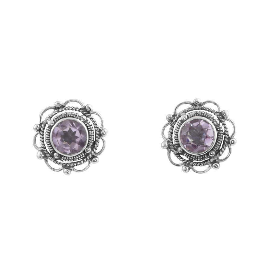 Midsummer Star Earrings Amethyst Filigree Flower Amethyst Earrings