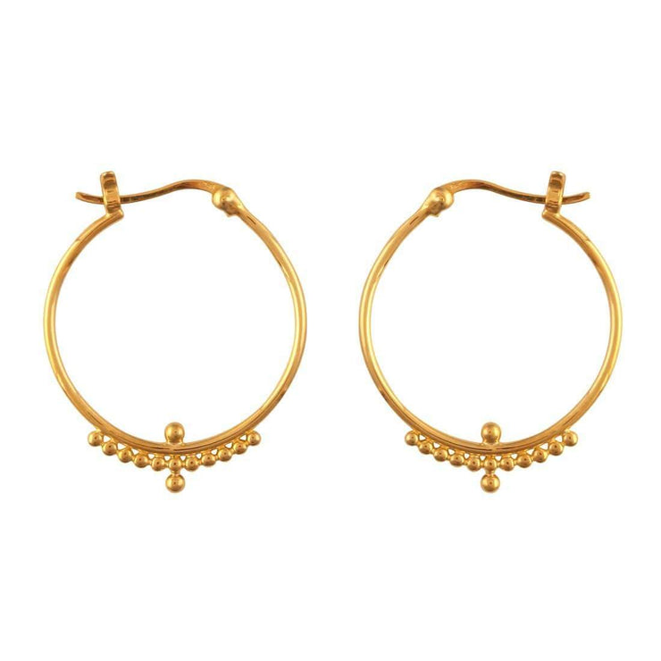 Midsummer Star Earrings Gold Beaded Horizon Hoops