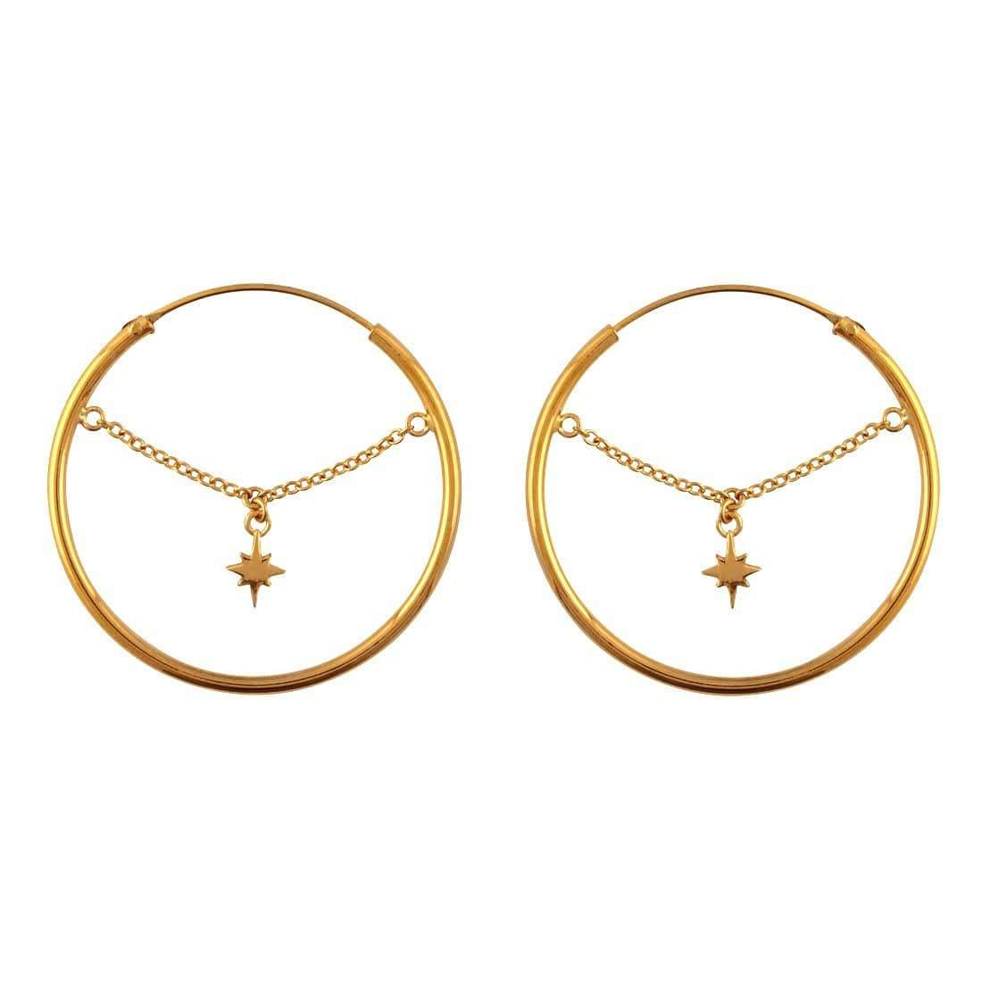 Midsummer Star Earrings Gold Celestial Chain Hoops