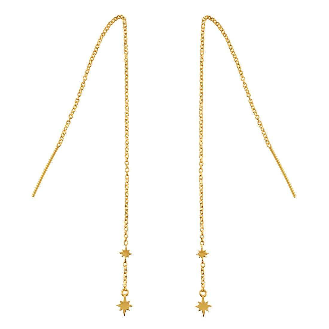 Midsummer Star Earrings Gold Celestial Threaders