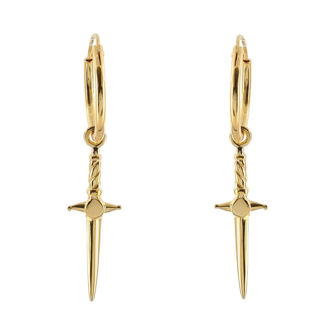 Midsummer Star Earrings Gold Cosmic Dagger Sleepers