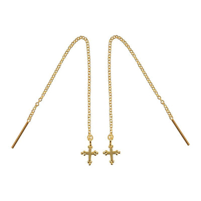 Midsummer Star Earrings Gold Cross Threaders