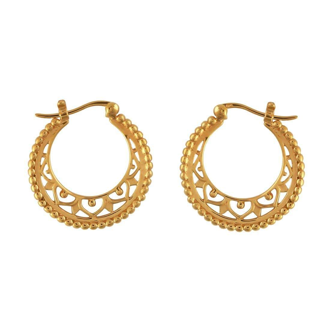 Midsummer Star Earrings Gold Mandala Disc Hoops