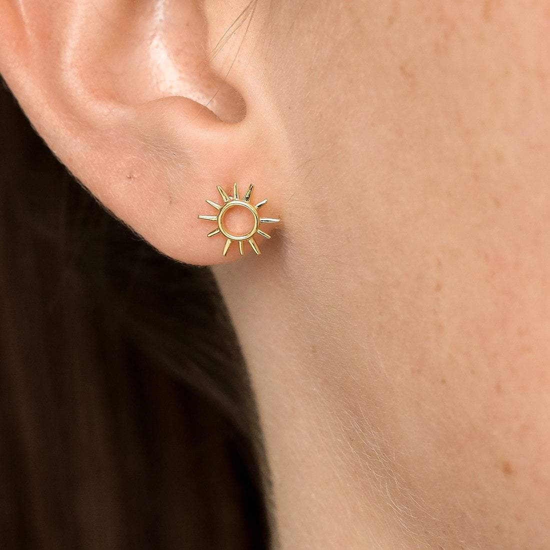 Midsummer Star Earrings Gold Open Sunshine Studs