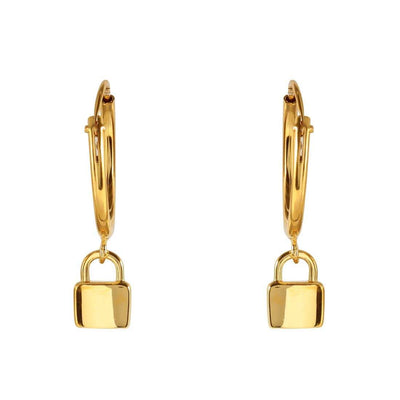 Midsummer Star Earrings Gold Padlock Sleepers