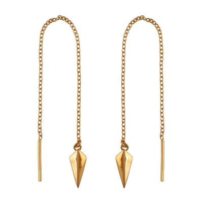 Midsummer Star Earrings Gold Pendulum Threaders