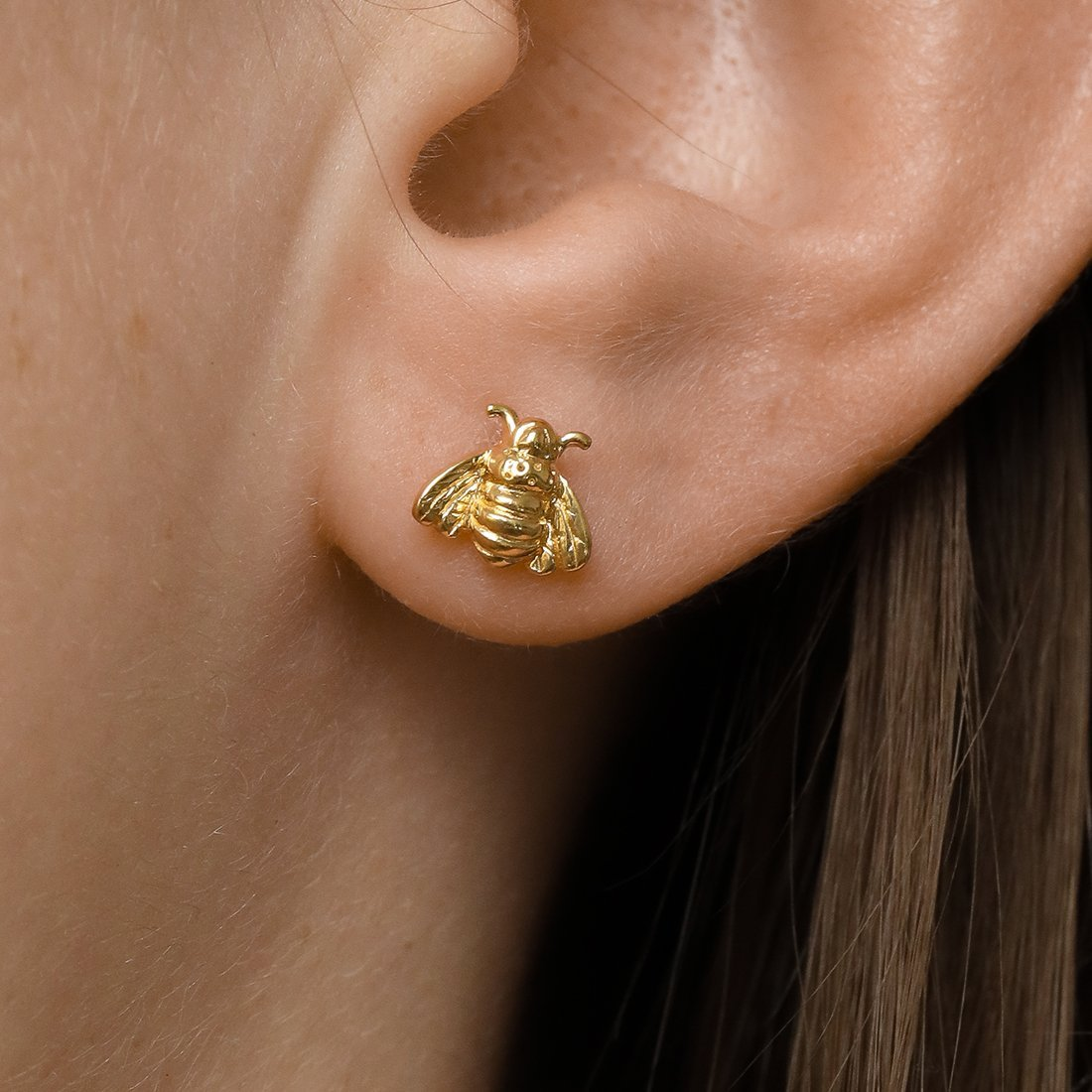 Midsummer Star Earrings Gold Pollination Bee Studs