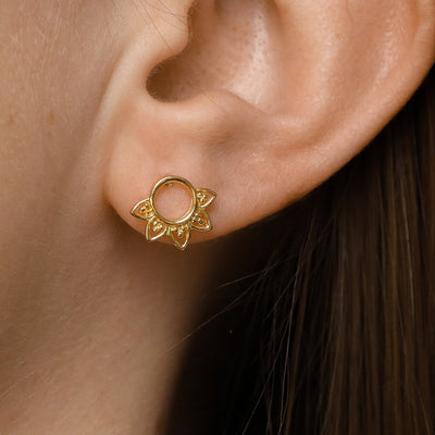 Midsummer Star Earrings Gold Rising Sun Studs