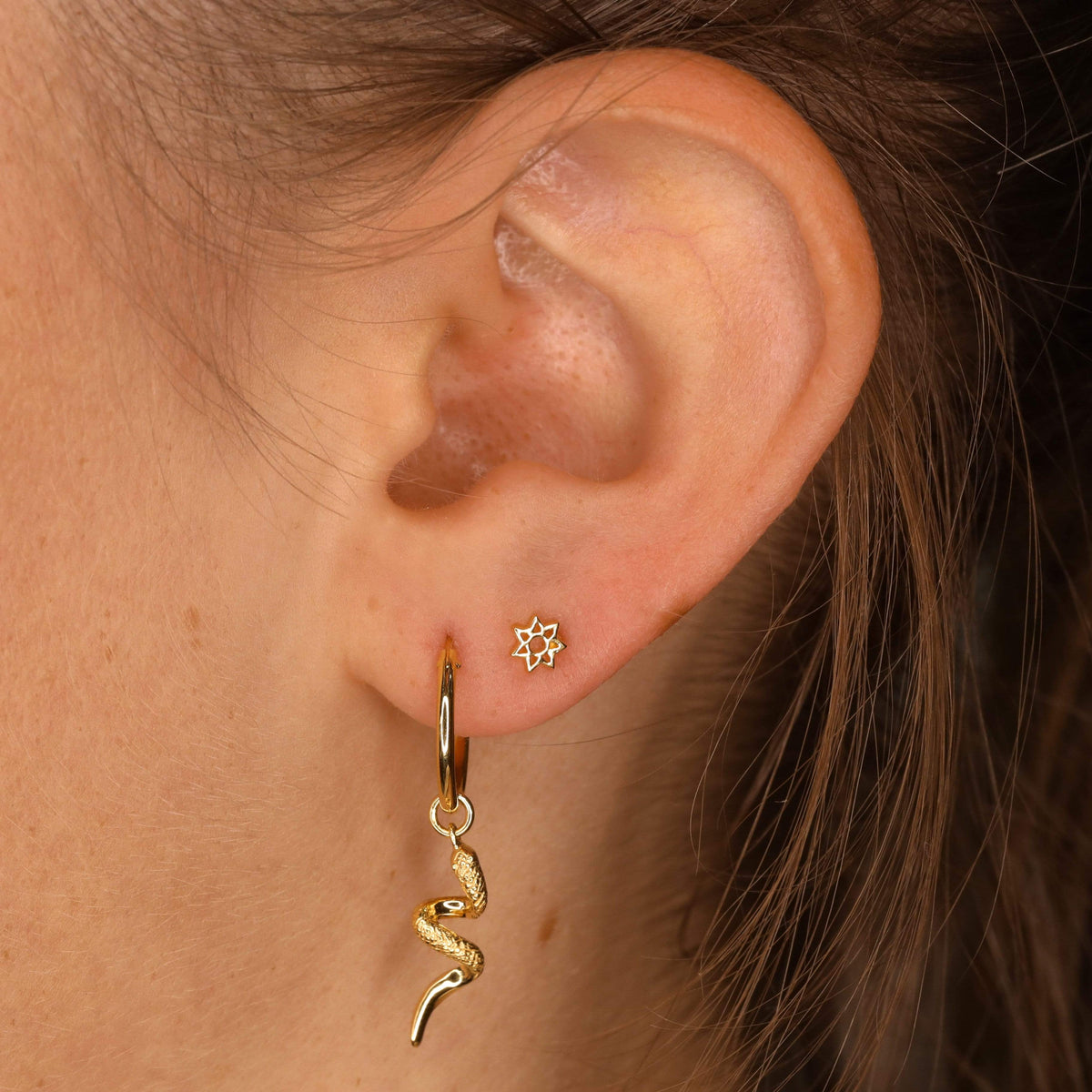 Midsummer Star Earrings Gold Serpent Sleepers
