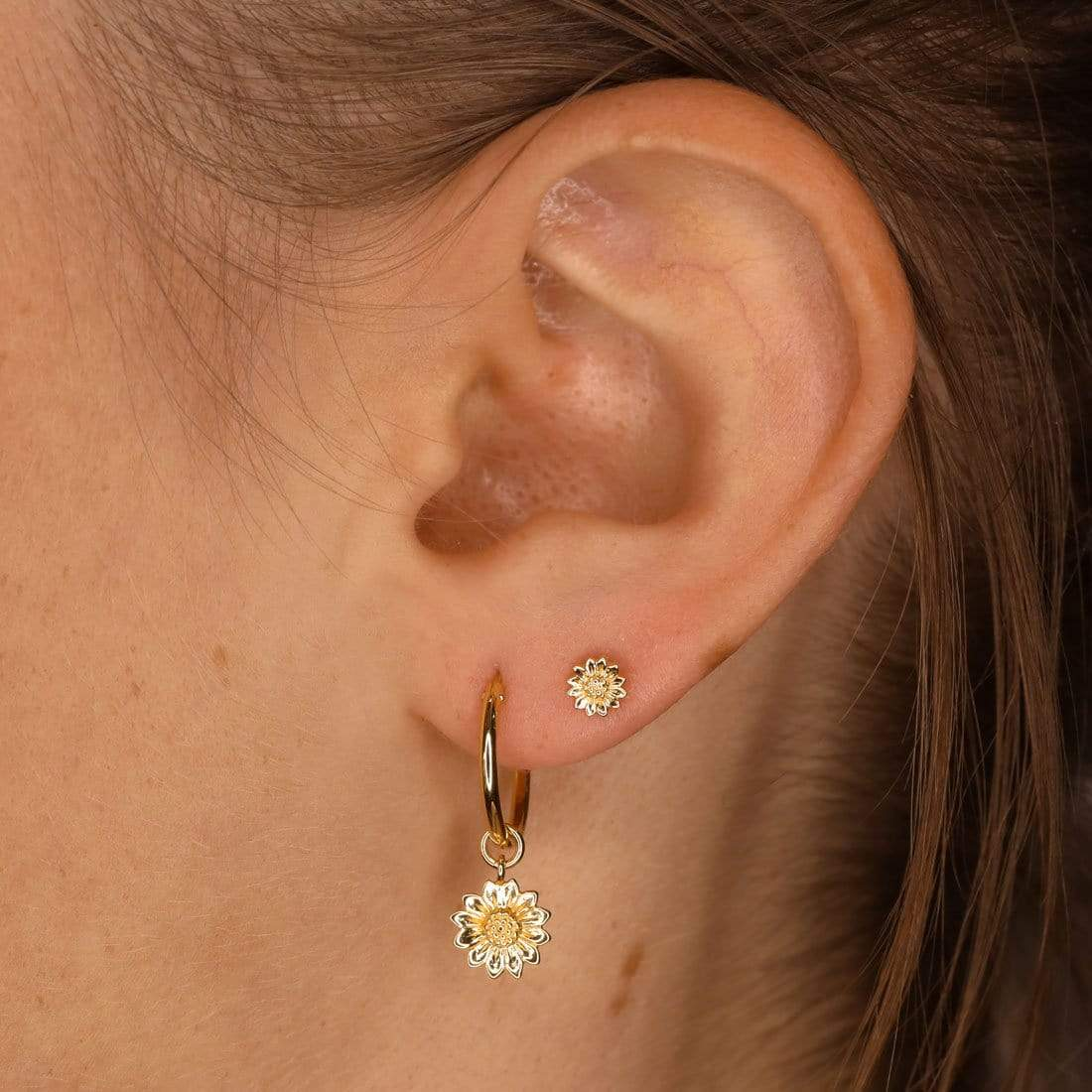 Midsummer Star Earrings Gold Tiny Sunflower Studs