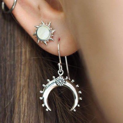 Midsummer Star Earrings Moon Flower Earrings