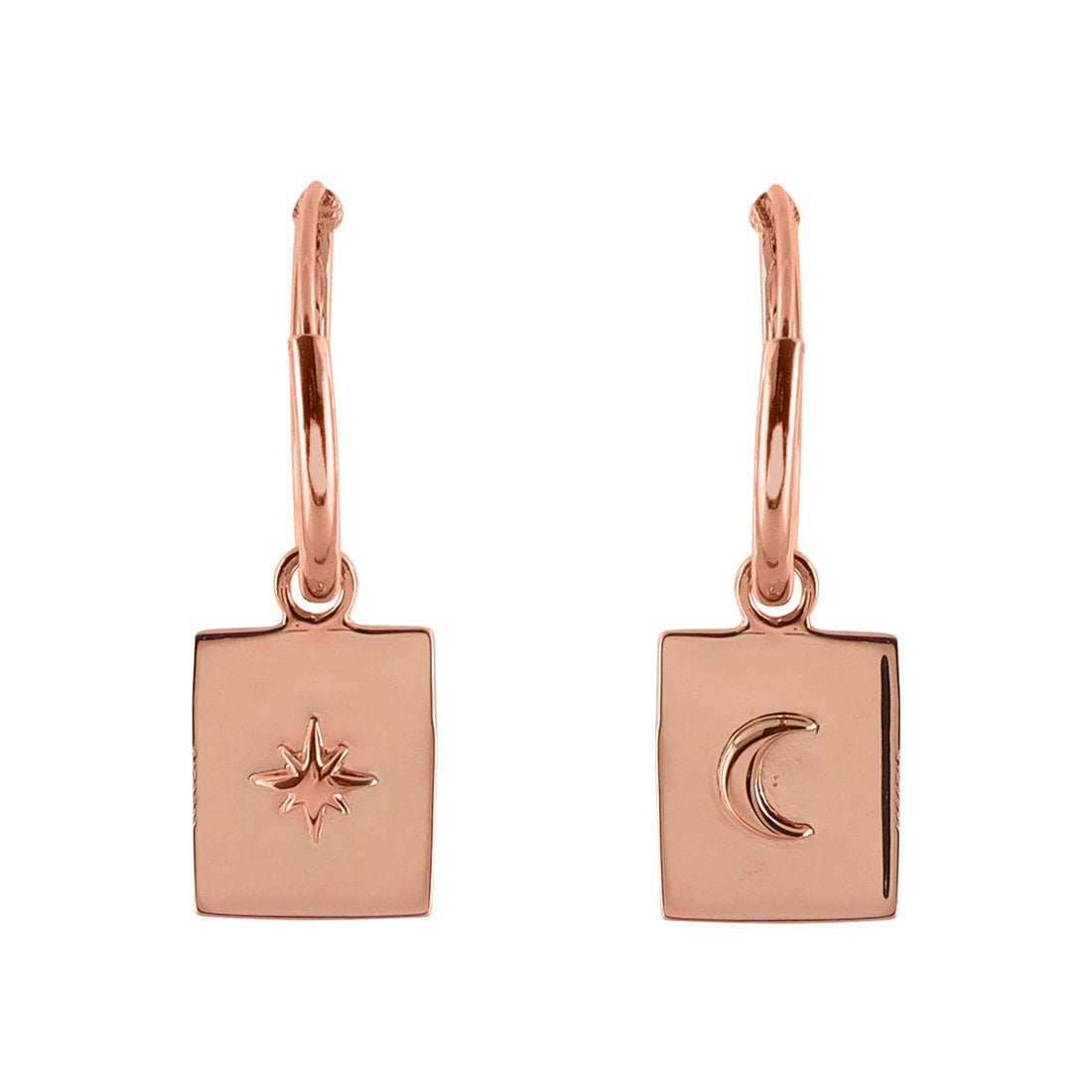 Midsummer Star Earrings Rose Gold Celestial Medallion Sleepers
