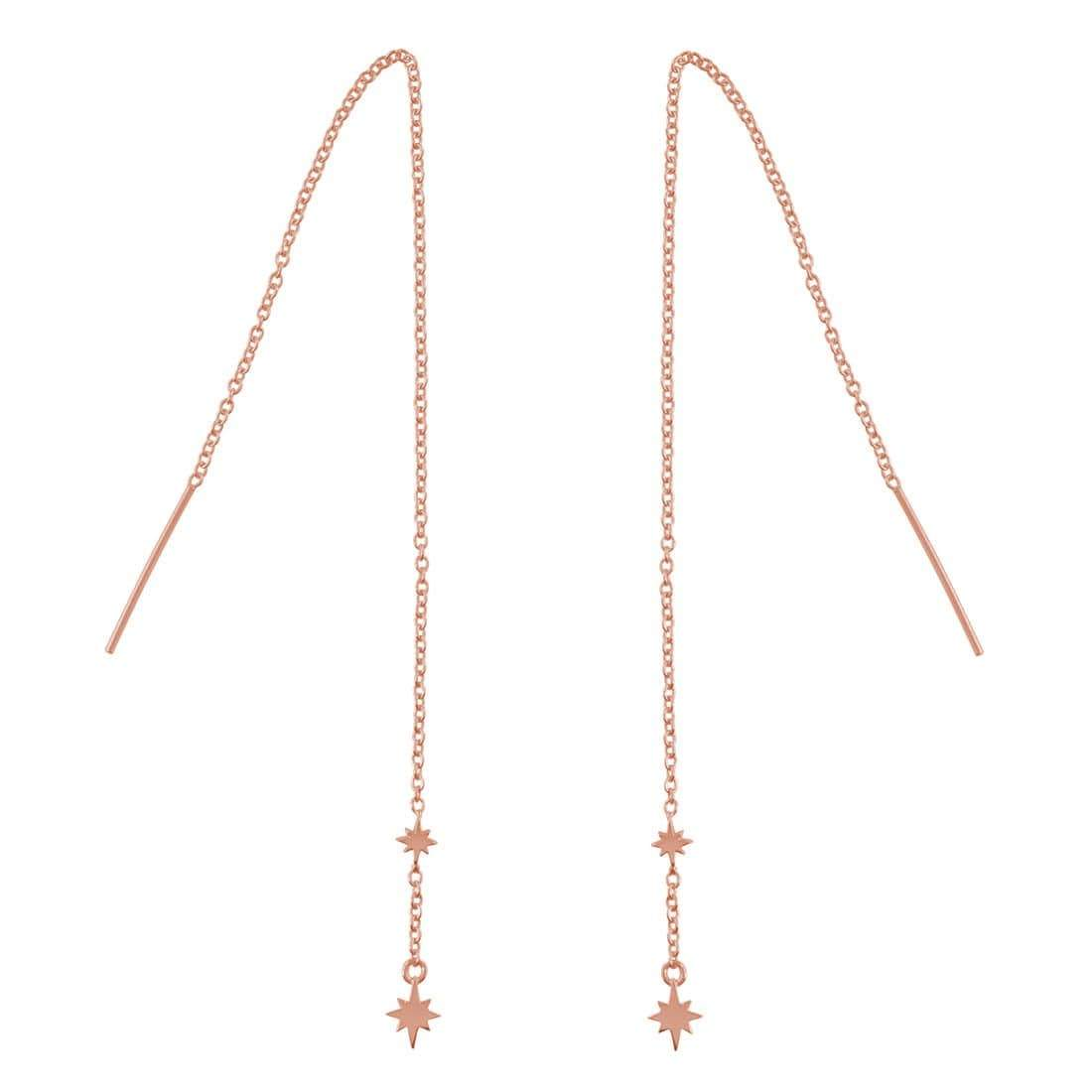 Midsummer Star Earrings Rose Gold Celestial Threaders