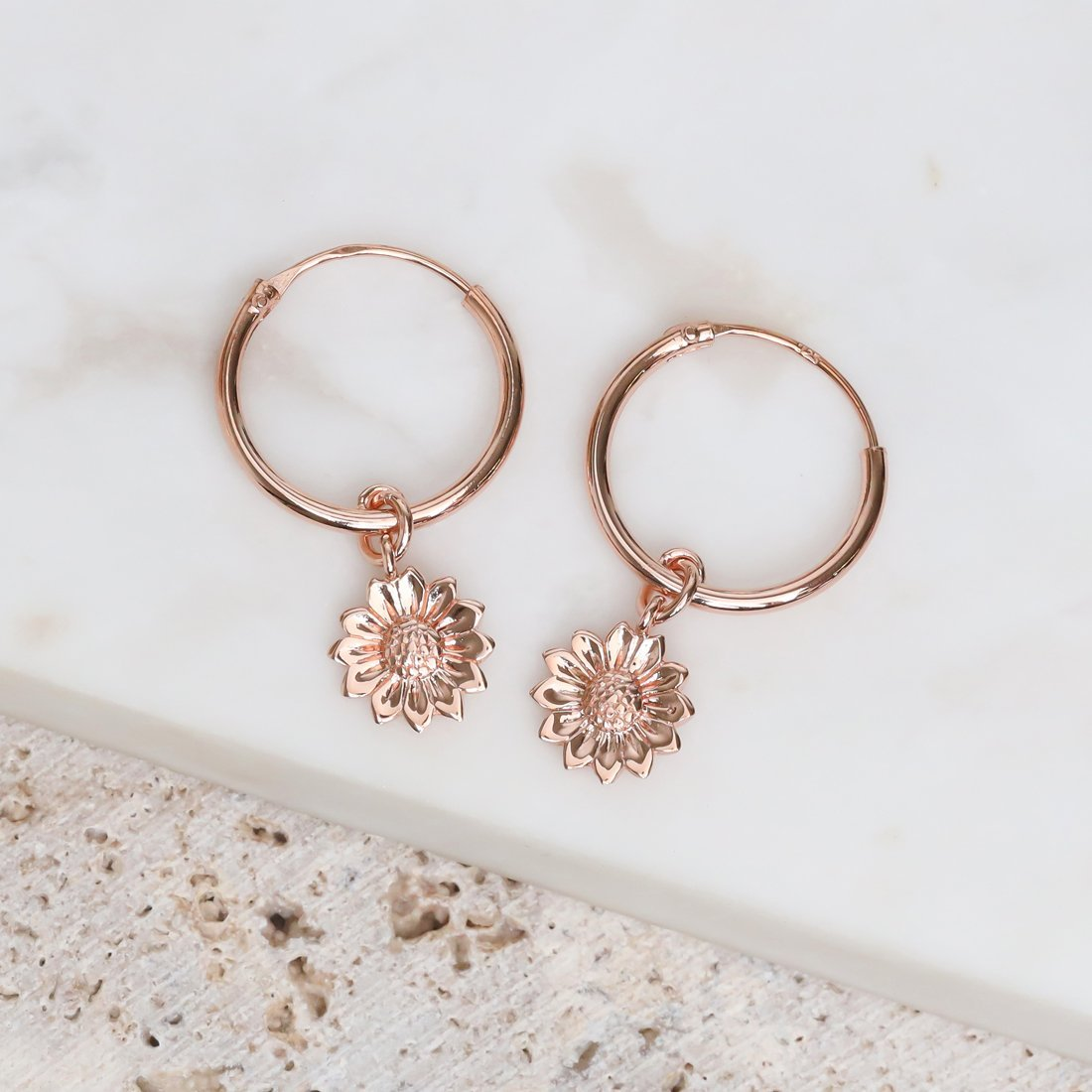 Midsummer Star Earrings Rose Gold Delicate Sunflower Sleepers