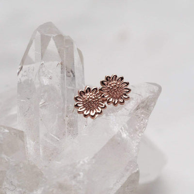 Midsummer Star Earrings Rose Gold Delicate Sunflower Studs
