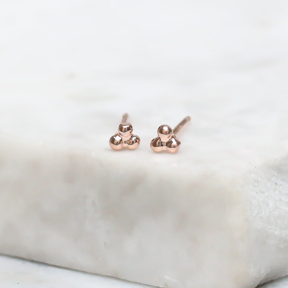 Midsummer Star Earrings Rose Gold Micro Dot Studs