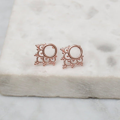 Midsummer Star Earrings Rose Gold Mystic River Studs
