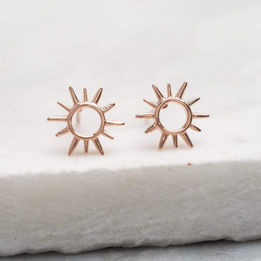 Midsummer Star Earrings Rose Gold Open Sunshine Studs