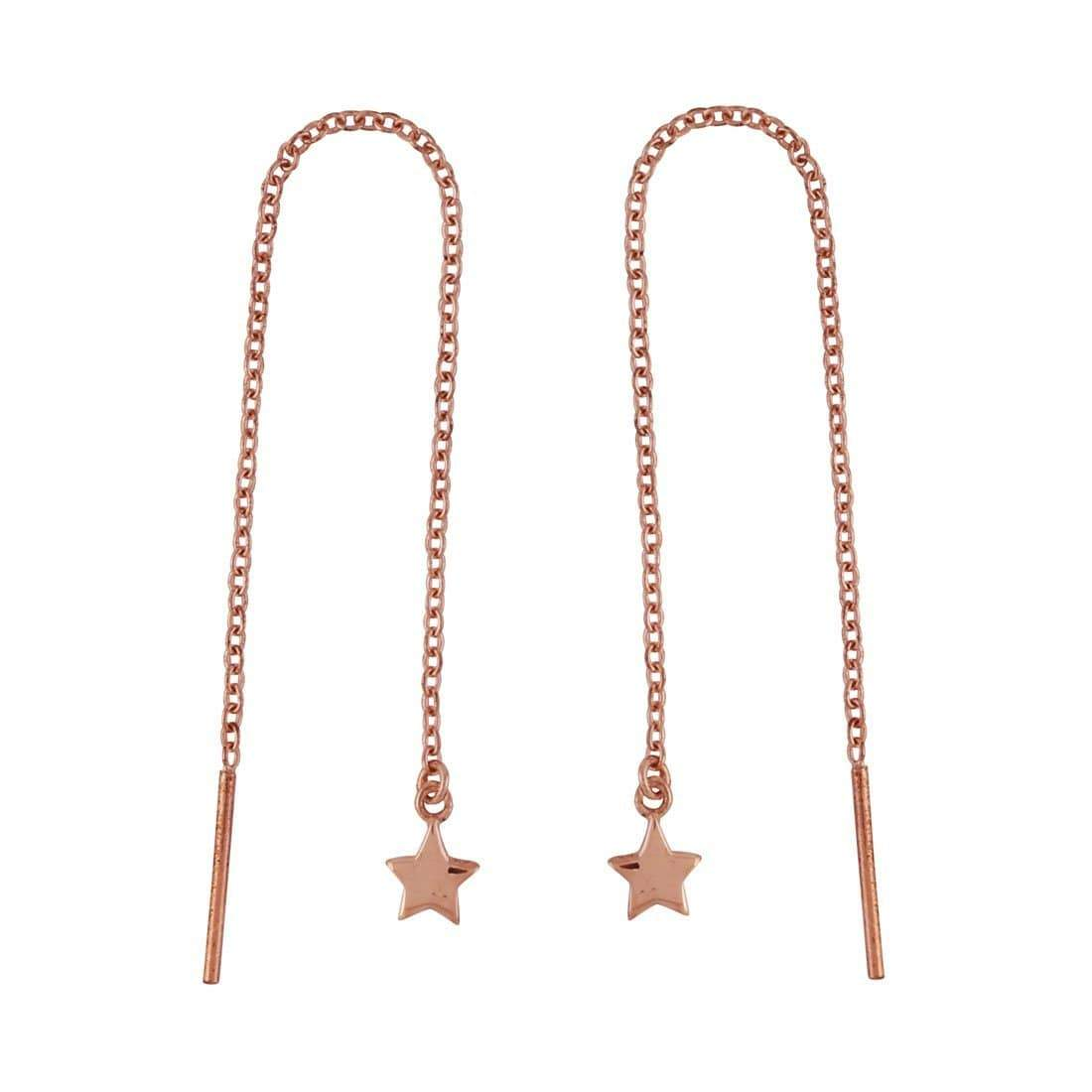 Midsummer Star Earrings Rose Gold Stars Threaders
