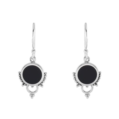 Midsummer Star Earrings Shimmer Halo Onyx Earrings