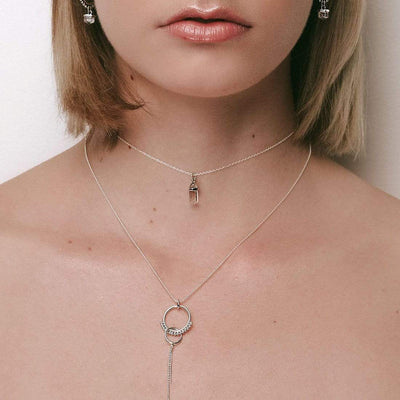Midsummer Star Necklaces Choker (30 + 10cm Extender) Dainty Drop Crystal Necklace