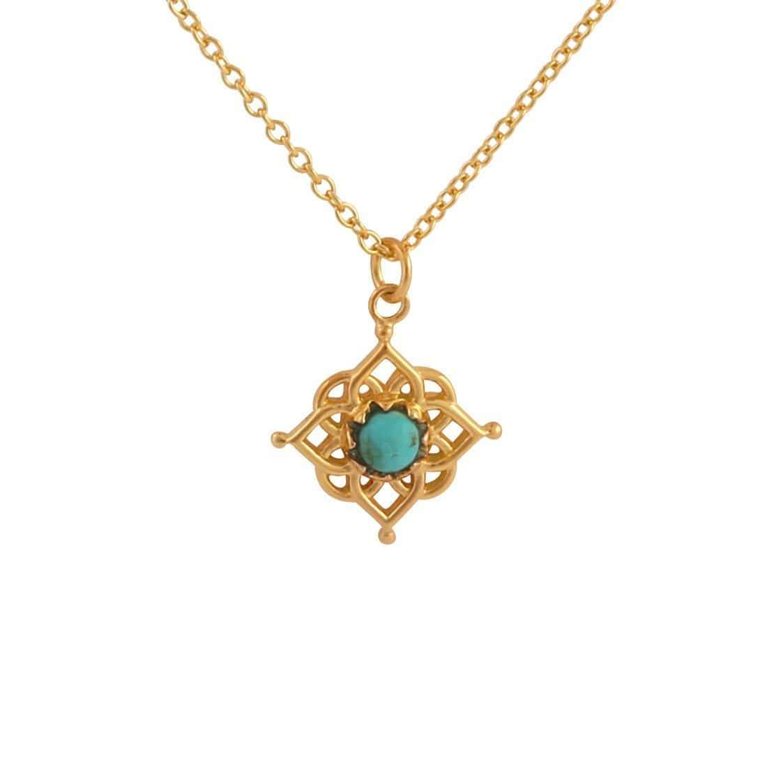 Midsummer Star Necklaces Gold Cosmic Mandala Turquoise Necklace