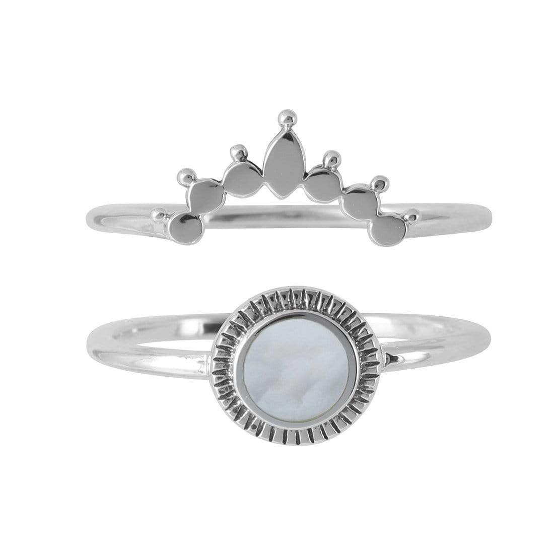 Midsummer Star Ring Ascendant Rising Pearl Ring Set